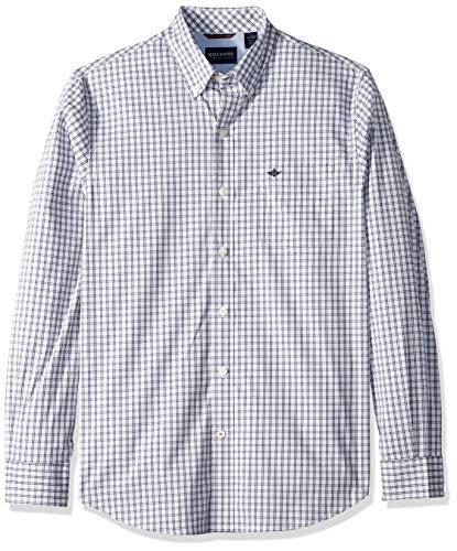Dockers Men's Long Sleeve Button Front Comfort Flex Shirt, Pembroke Print X-Large (Mens Shirt Front Button)