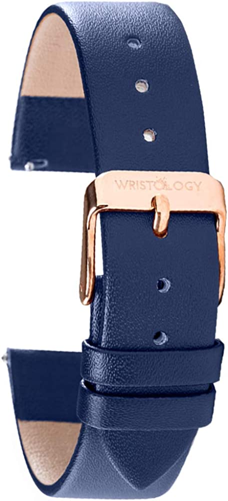 WRISTOLOGY Leather Watch Band Straps - Quick Release - Replacement for Mens or Womens Choose Color and Width 14mm, 16mm, 18mm, or 20mm