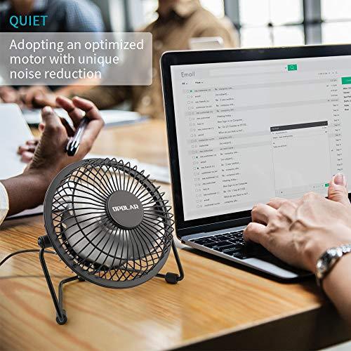 OPOLAR F401 Mini USB Table Desk Personal Fan (Metal Design, Quiet Operation 3.9' USB Cable, High Compatibility), Black
