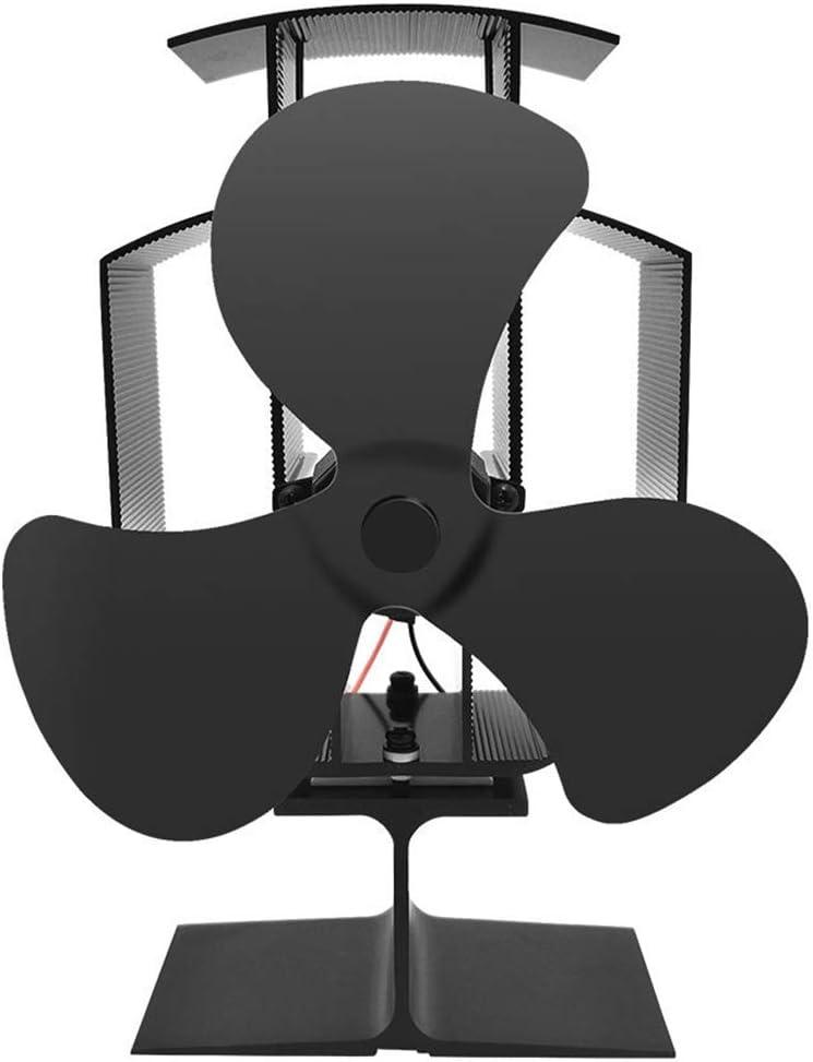 ONGLOLH Chimenea Estufa Ventilador Ventilador 3 Hojas eficientemente Circular el Calor Tibio Ventiladores alimentados silenciosa operación destinada a la Estufa de leña,Black-15 * 22.5 * 9CM