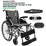 "Karman S-Ergo115F18SS - 18"" Seat Width, Ultra Lightweight, Ergonomic Wheelchair Model S-Ergo 115, Pearl Silver - Swing In & Away Footrests, Fixed Wheel, Fixed armrest & FREE Wheelchair Seat Belt!"