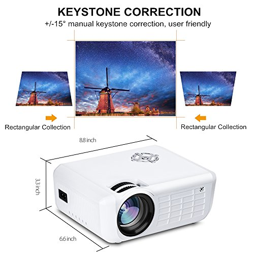 Fuleadture Portable Led Projector 1080p Hd Multimedia