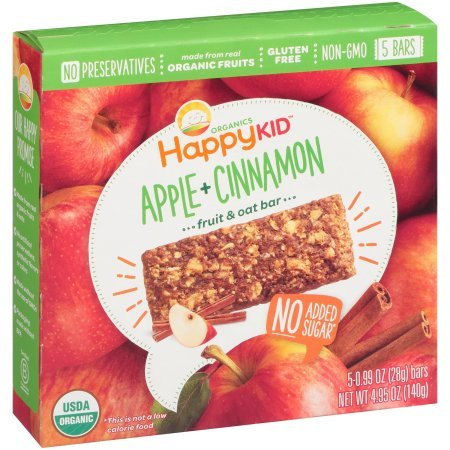 Happy Kid Apple + Cinnamon Fruit & Oat Bars 5-0.99 oz( total 4.95 oz) Bars by Happy Kid