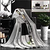 "Nalagoo Unique Custom Flannel Blankets Lounge Decor Beautiful Contemporary Lounge With Fireplace Television Loudspeaker Box Books F Super Soft Blanketry for Bed Couch, Throw Blanket 60"" x 50"""