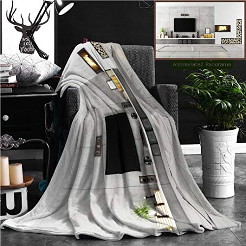 "Nalagoo Unique Custom Flannel Blankets Lounge Decor Beautiful Contemporary Lounge With Fireplace Television Loudspeaker Box Books F Super Soft Blanketry for Bed Couch, Throw Blanket 60"" x 50"" by Nalagoo"