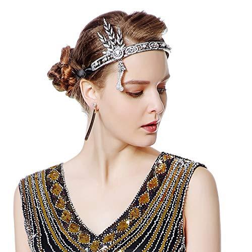 Metme Flapper Headband Bling Rhinestone Pearl Wedding Headpiece 1920s Gatsby Themes Party Accessoires]()