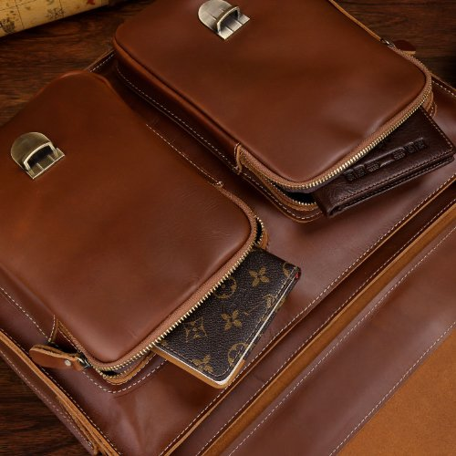 BAIGIO Office 15.6'' Laptop Briefcase Men Leather Business Shoulder Messenger Bag (Red Brown) by BAIGIO (Image #5)