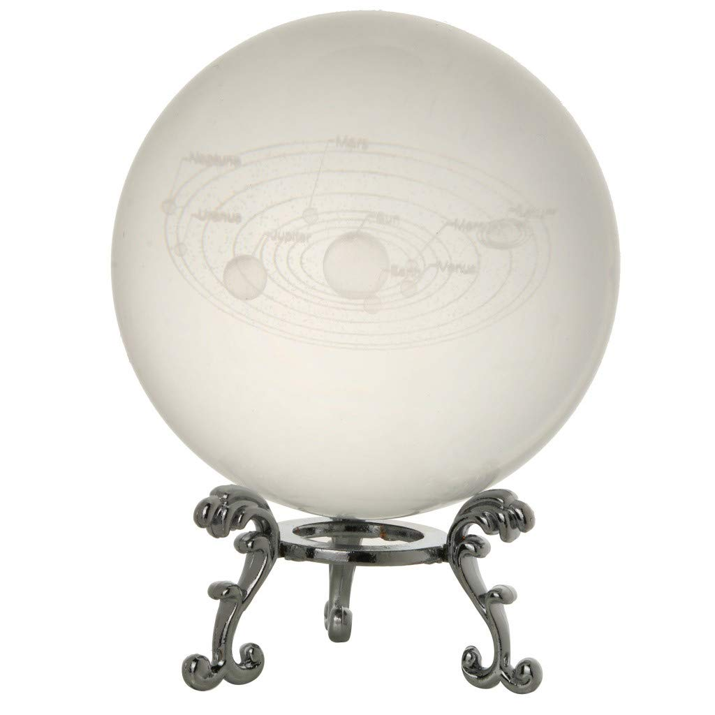 SUJING 3D Crystal Solar System Crystal Ball Engraving Solar System Miniature Planet Model (B)