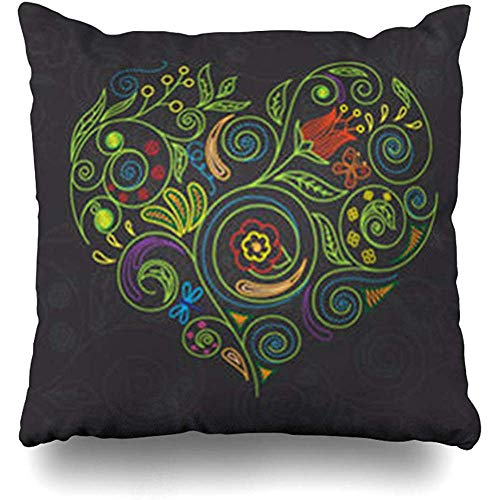 Throw Pillow Covers Green Drawing Heart Abstract Line Red Botanic Garden Blossom Funky Branch Ornate Flowers Home Decor Sofa Pillowcase Square 18