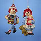 """3.75"""" Raggdy Ann/andy Blow Mold Ornament Set Of 2"""