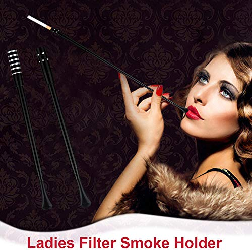 (Cigarette Holder, Elevin(TM) Black Vintage Slim Cigarette Telescopic Holder Filter Smoke Ladies)