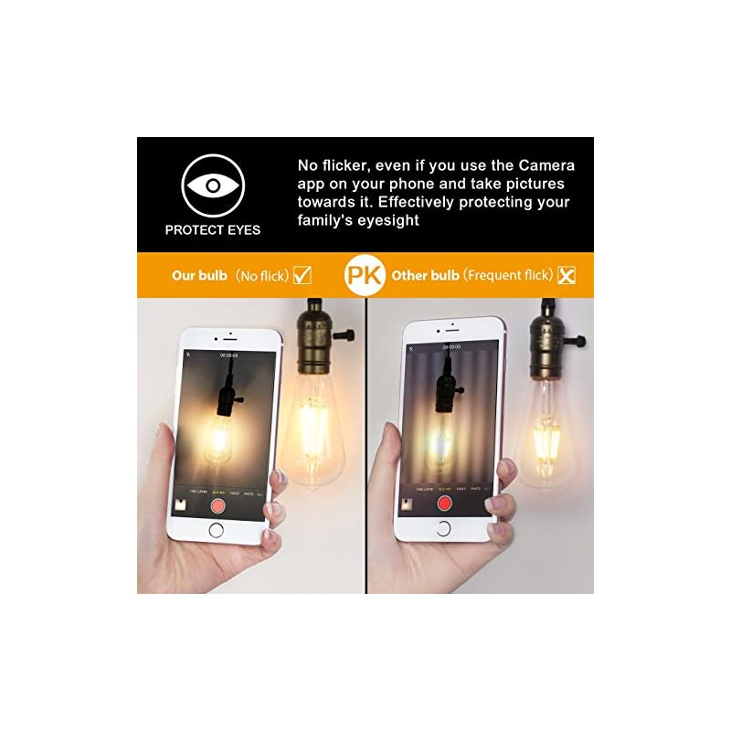 LED Edison Bulb Dimmable 6W Vintage Led Light Bulb 60W Equivalent 2200K Warm White 520 Lumen ST64 Led Filament Bulb E26…