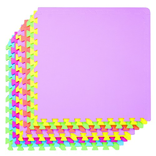 POCO DIVO 36-SQFT Giant Play Mat 9-tile Excise Mat Easy Setup Solid EVA Foam Mat Multi-color Interlocking Floor with 18-border (Pink Border Baby)