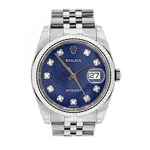 Rolex Datejust 36mm Blue Diamonds Dial Stainless Steel Watch 116234