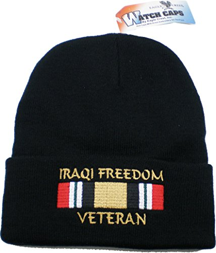 Eagle Crest Iraqi Freedom Veteran with Ribbon Mens Cuff Beanie Watch Cap ()