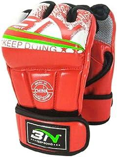 Guyuexuan Gants de Boxe Demi-Doigts pour la Boxe, Gants de Combat Sanda, Ensembles de Boxe pour l'entraînement au Combat pour Adultes, Haute qualité