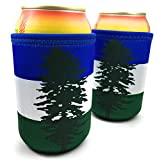Cascadia Doug Neoprene Beverage Insulator Beer Can and Bottle Cooler - Portland and Seattle Soccer and Football Tailgating and Sports Fans Gift - Green White & Blue Stripes with Fir Tree Flag (2)