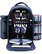 APOLLO WALKER Picnic Backpack Bag for 2 Person with Cooler Compartment Detachable Bottle/Wine Holder Fleece Blanket Plates and Cutlery (Blue)