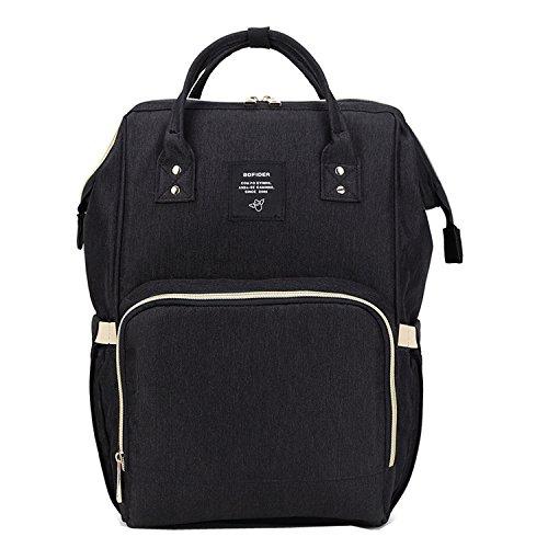bigforest momia mochila bolsa de viaje multifunción bebé pañal pañales cambiante negro bolso Tote Bag
