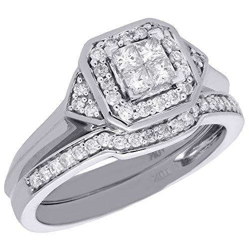 10K White Gold Quad Princess Diamond Octagonal Halo Engagement Ring + Weddiing Band Bridal Set 0.51 Cttw