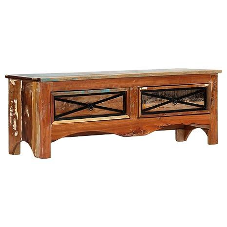 vidaXL Mueble TV 2 Cajones Madera Maciza Reciclada Diseño Vintage ...