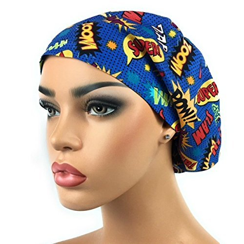 DK Scrub Hats Women's Adjustable Bouffant Scrub Hat Ponytail Surgical Cap Comic Super Hero Words