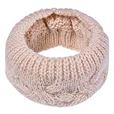 QIQIU Knitted Scarves, Womens Men Warm Collar Solid Winter Shawl Soft Neck Ring Scarf