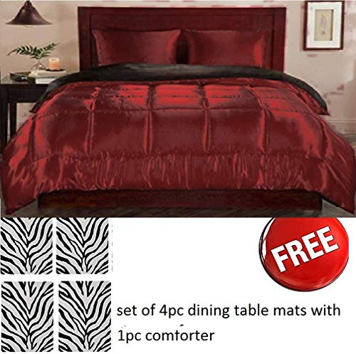 (Majestic Bedding Luxurious Super Soft - Plush Siliconized Polyester Fiberfill Comforter, Hypoallergenic Silky Satin Warm + Free 4 Dining Table Mats, Burgundy, King/Cal King (90 x 102) Inches)