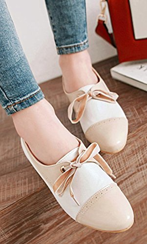 Aisun Womens Lace Up Pumps - Color-Contrasted Dressy Stacked Shoes - Wear To Work Round Toe Medium Heel Beige 0V72XMg8