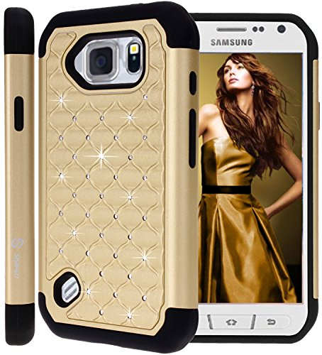 (S6 Active Case, Galaxy S6 Active Case, Style4U Studded Rhinestone Crystal Bling Hybrid Armor Case Cover for Samsung Galaxy S6 ActiveDoes Not Fit Galaxy S6 with 1 Style4U Stylus [Gold/Black])