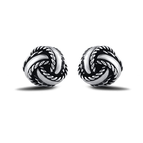 346851fb3ec Amazon.com  Agvana Sterling Silver Gold Plated Vintage Small Twisted Love  Knot Stud Earrings for Women Girls  Jewelry