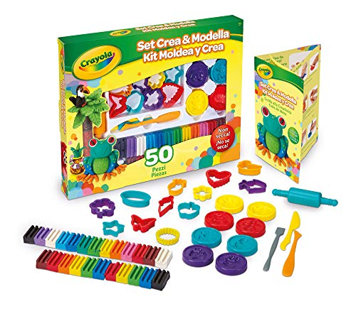 Crayola Deluxe 50 Piece Modeling Clay Art Kit Art Gift for Kids 5 amp Up Includes NonToxic Modeling Clay in Classic Crayola Colors Shape Cutters Modeling Tools Shape Molds amp Rolling Pins