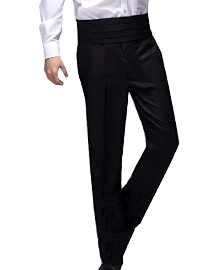 Zimaes-Men Straight Oversized Hidden Expandable-Waist Plain Front Pants