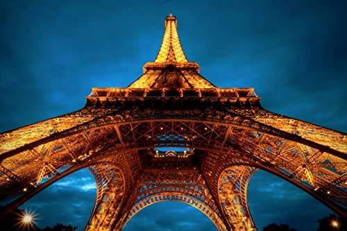 Amazon Com Paris At Night Eiffel Tower View From Below Nature Poster Canvas Art Print 36x24inch Posters Prints