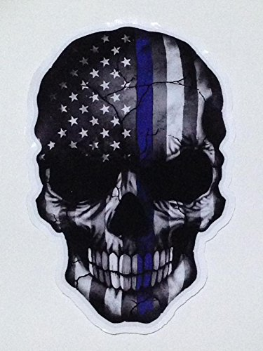 Sticker Skull American Flag Subdued Thin Blue Line USA Military Support Decal Size 6.5 x 4.25 - Jersey Garden Elizabeth