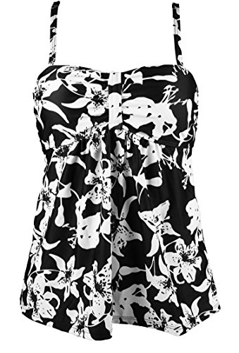 Cocoship Black & White Allover Print Vintage Inspired Swim Top Retro Ruched Modest Tankini Swimsuit 14(FBA)