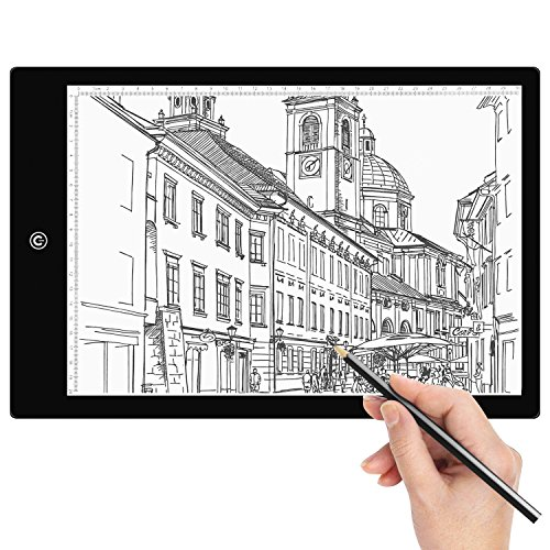 Tracing Light Box Amzdeal A4 LED Light Box Tracer Artcraft Tracing Light Pad with 6 Dimmable Brightness USB Powered for Drawing Sketching Animation by amzdeal