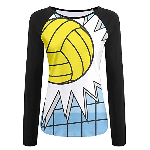 Womens Volleyball Hit Net Casual Crew-Neck T-Shirt With Long - Candid Volleyball