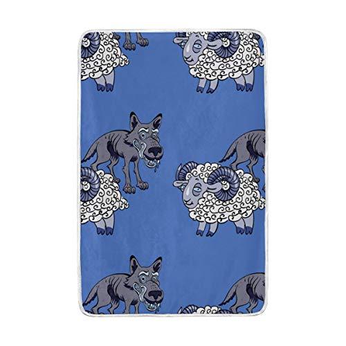 Jonassk Woolffk Sheep Drench Blue Soft Blanket All Season Comfort Super Soft Warm Plush Blanket Fuzzy Light Warm Wool Blanket Sofa Bed, 60x90 Inches