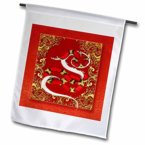 3dRose fl_101845_1 Chinese Zodiac Year of The Snake Chinese New Year Red Gold and Black Garden Flag, 12 by ()