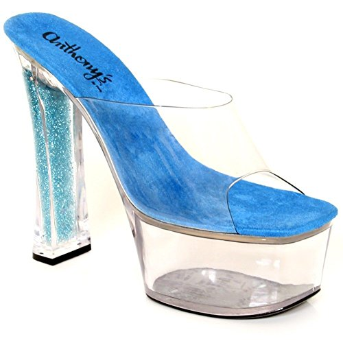 A-705 Hot Shoes Super High Sexy Glitter Slip-On 6 1/2 Platform Sandal Clear/Blue/Clear wkIVZ6NCth
