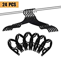 24 Pcs Travel Hangers - Portable Folding Clothes Hangers Travel Accessories Foldable Clothes Drying Rack for Travel (Black)