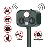 LUCKYDIY Solar Ultrasonic Outdoor Animal Repellent and Pest Repeller, Integrated Ultrasonic Flash Burglar Alarm