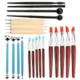 Asayu 23pcs Pottery Clay Sculpting Tools for Pottery Sculpture, 5pcs Double Sided Dotting Tools, 10pcs Rubber Tip Pens, 4pcs Ball Stylus and 4pcs Plastic Black Modeling Tools