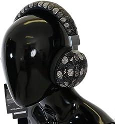 Dolce & Gabbana - Black Pineapple Print Leather Headphones
