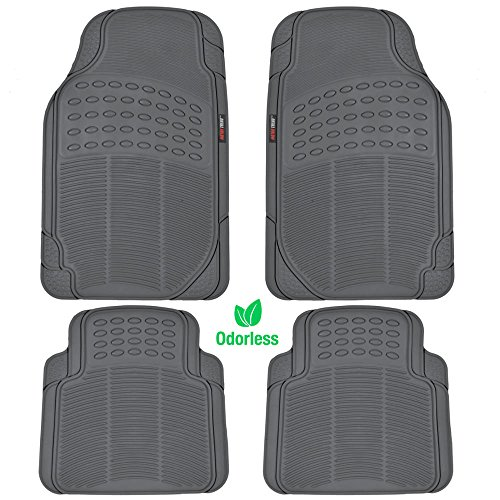 (BDK MotorTrend 4-Piece Odorless Premium Heavy Duty All Weather Maximum Protection Car Floor Mat - Rubber (Charcoal Gray))