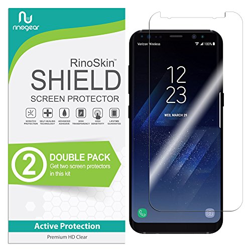 [2-PACK] RinoGear for Galaxy S8 Screen Protector [Active Protection] (Edge-to-Edge) Flexible HD Invisible Clear Shield Anti-Bubble