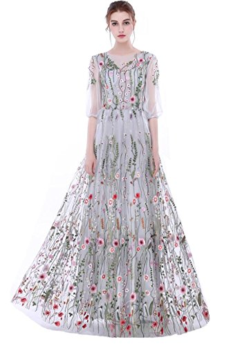Dobelove Women's Long Sleeves Floral Embroidery A-line Evening Dress Silver