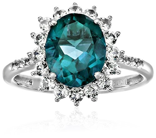 on Blue Topaz And Created White Sapphire Engagement Halo Engagement Ring, Size 7 ()