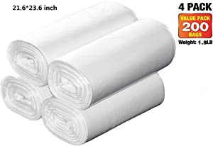Middle Kitchen Trash Bags,30 Liter 200-Counts /4rolls 21.6'' x 23.6'' Clear White Strong Trash Bags for Home Office Grabage Can 7.5gallon 8 gallon Trash Can Liners